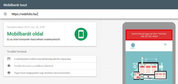 Responsive weboldal jelleg ellenőrzés a Google eszközével